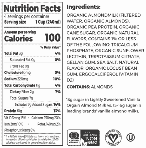 Organic Protein™ Almond Milk - Lightly Sweetened Vanilla Nutrition fact